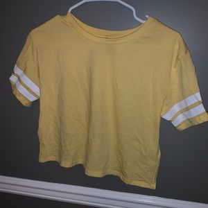 Yellow Crop Top w/ White Striped Sleeves